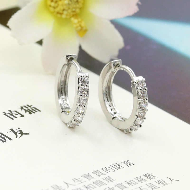 Kryształowe kolczyki w kształcie obręczy kółko kolczyki huggie srebrny Cubic cyrkon Rhinestone okrągły pętli urok kobiety mężczyźni moda biżuteria ucha