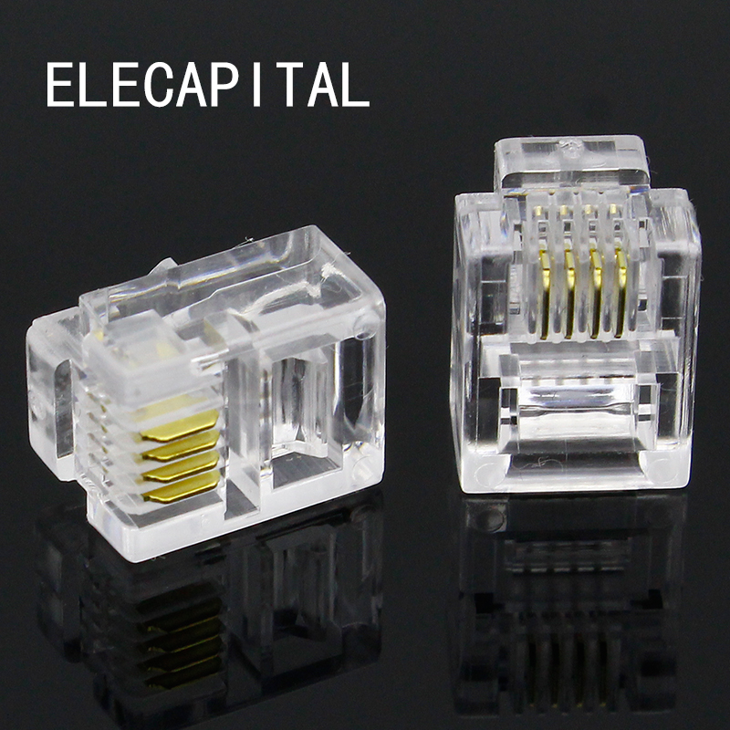 100Pcs 4P4C 4 Pins 4 Contacts RJ10 Telephone Modular Plug Jack, RJ10 Handset Connector