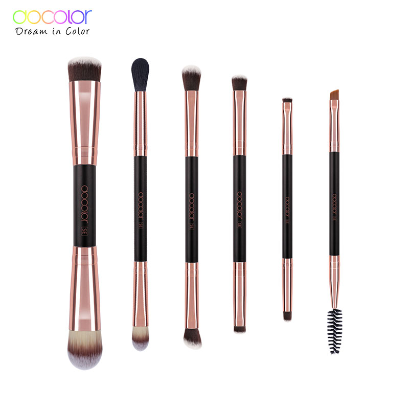 Docolor 6PCS Double Eye Shadow Brush Professional Brushes for Eye Makeup Beauty Cosmetic Brush Set Blending Smokey brushes