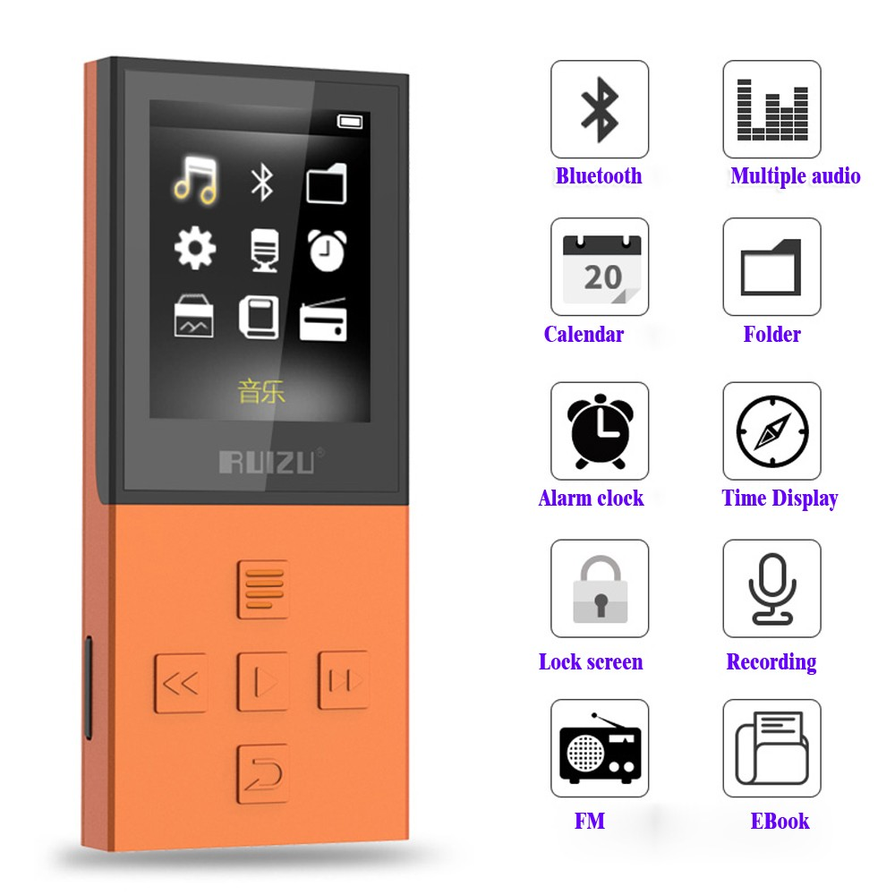 original ruizu x18 bluetooth sport mp3 player with 8g can playing130hours high quality lossless. Black Bedroom Furniture Sets. Home Design Ideas