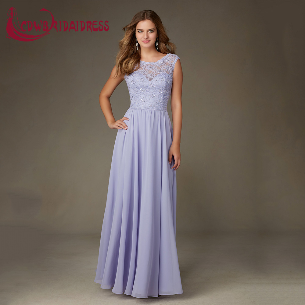 Aliexpress buy gorgeous violet chiffon long bridesmaid aliexpress buy gorgeous violet chiffon long bridesmaid dresses lace bodice sheer bateau neckline with cap sleeves modern wedding party gowns from ombrellifo Image collections
