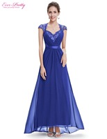 Free Shipping HE09867 Sexy V Neck Sapphire Blue Diamante Beaing Cap Sleeve Evening Dress