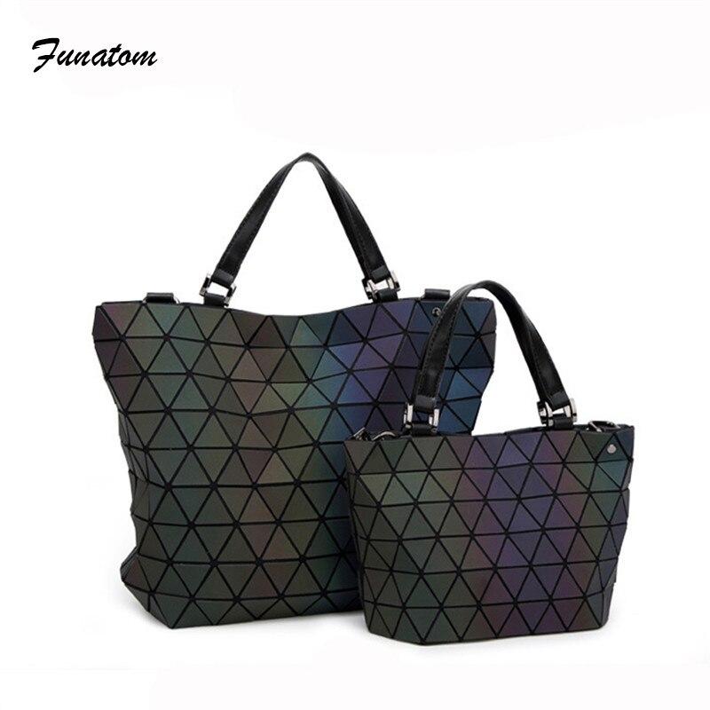 Funatom решетки геометрические сумка из искусственной кожи Портфели Сумки световой Для женщин сумка Алмазный женские Курьерские сумки