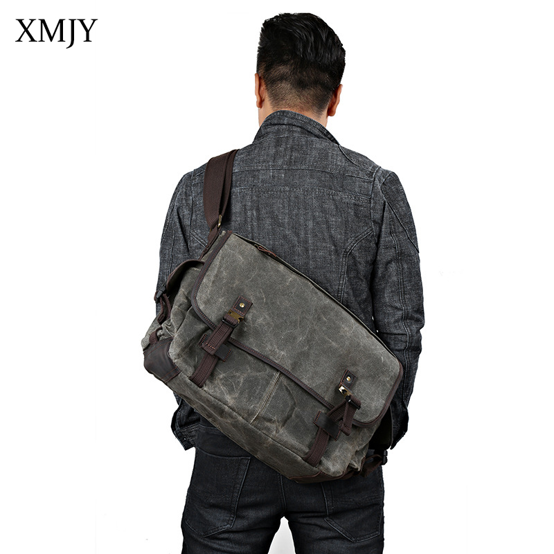 XMJY Men Messenger Bag Wax oil Canvas Shoulder Bag Leisure Vintage Military Large capacity Waterproof Travel Crossbody bags mybrandoriginal travel totes wax canvas men travel bag men s large capacity travel bags vintage tote weekend travel bag b102