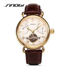 SINOBI Mens Automatic Mechanical Watch Tourbillon Males Skeleton Wrist Watches Gift Box Steel Wristwatches Relojes Mecanicos