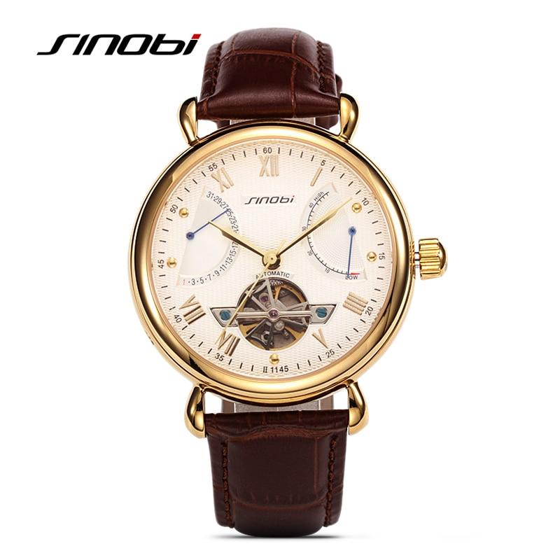 SINOBI hommes automatique montre mécanique Tourbillon hommes squelette montres bracelet boîte cadeau en acier montres Relojes Mecanicos