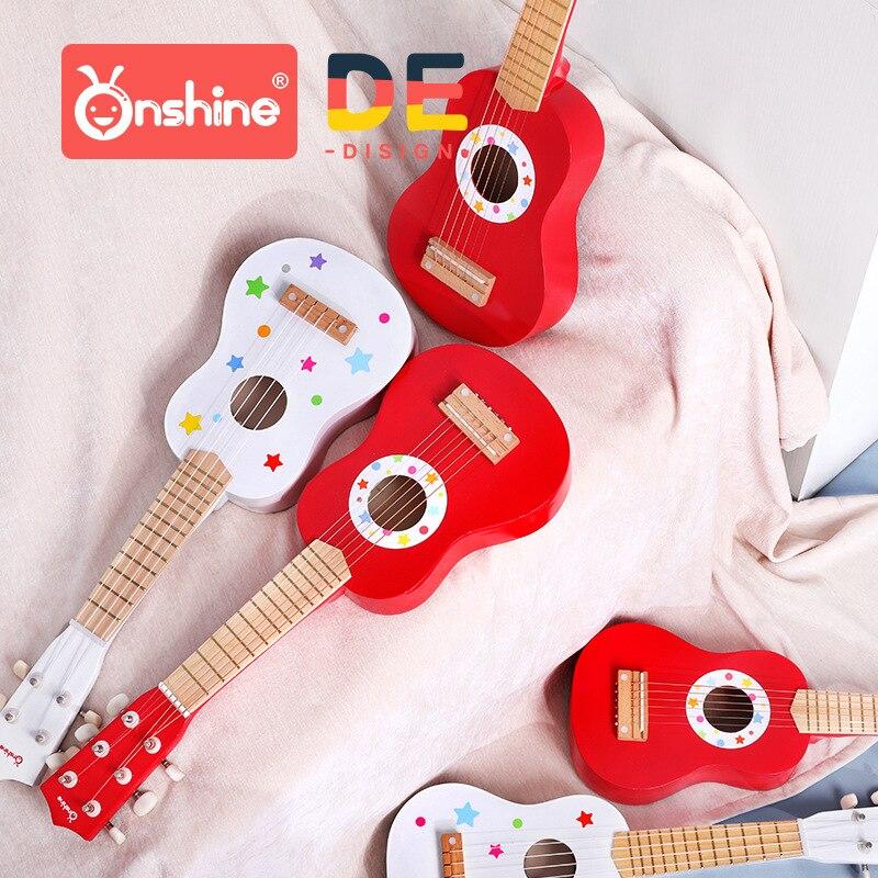 Onshine enfants guitare en bois ukulélé débutant jouets enfants instrument de simulation maternelle jouet 3Y +