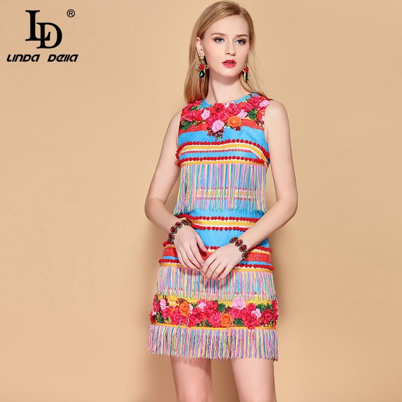 LD LINDA DELLA 2019 Fashion Runway Sommer Kleid frauen Ärmel Wunderschöne Floral Appliques Quaste EINE Linie Elegante Mini Kleid-in Kleider aus Damenbekleidung bei  Gruppe 1