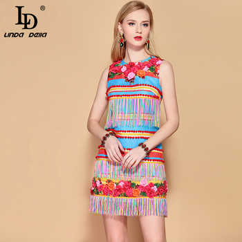 LD LINDA DELLA 2019 Fashion Runway Summer Dress Women's Sleeveless Gorgeous Floral Appliques Tassel A Line Elegant Mini Dress - DISCOUNT ITEM  20% OFF All Category