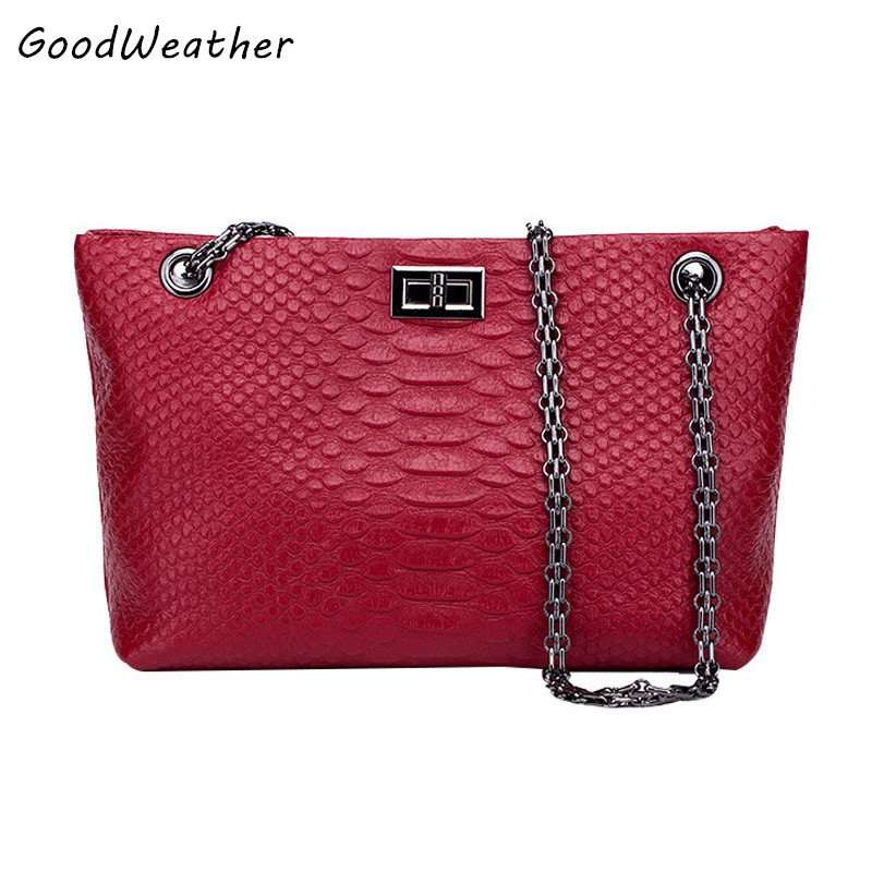 High quality PU leather women's tote bag designer snake pattern shoulder bags fashion wine red large capacity ladies chain bags