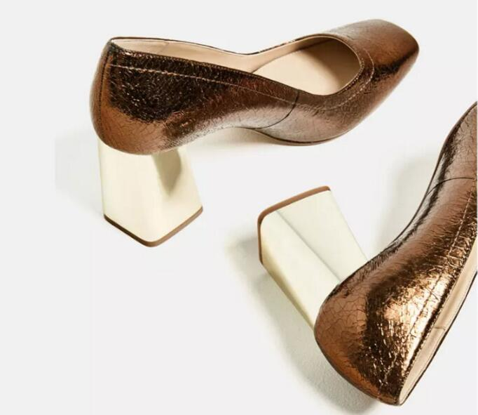 ФОТО Rose gold women high heel Spring Autumn shoes slip-on square heel shoes with square toe laides dress/party glitter shoes pumps