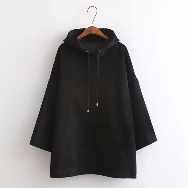MEILIYA Store 2017 Autumn Plus Size Women Cotton Loose Harajuku Hooded Female Casual Full Sleeve Boyfriend Style Hoodies Sweatshirts Black