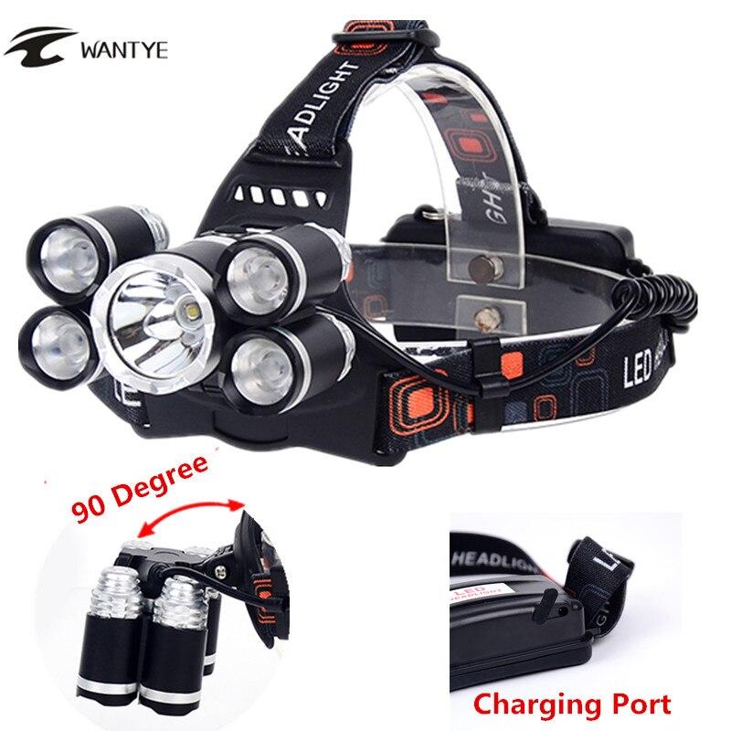 12000 Lümen 4 Modu LED Far XML-T6 + 4 * XPE Kafa Lambası Su Geçirmez Açık Kamp Işık Şarjlı 18650 kafa torch