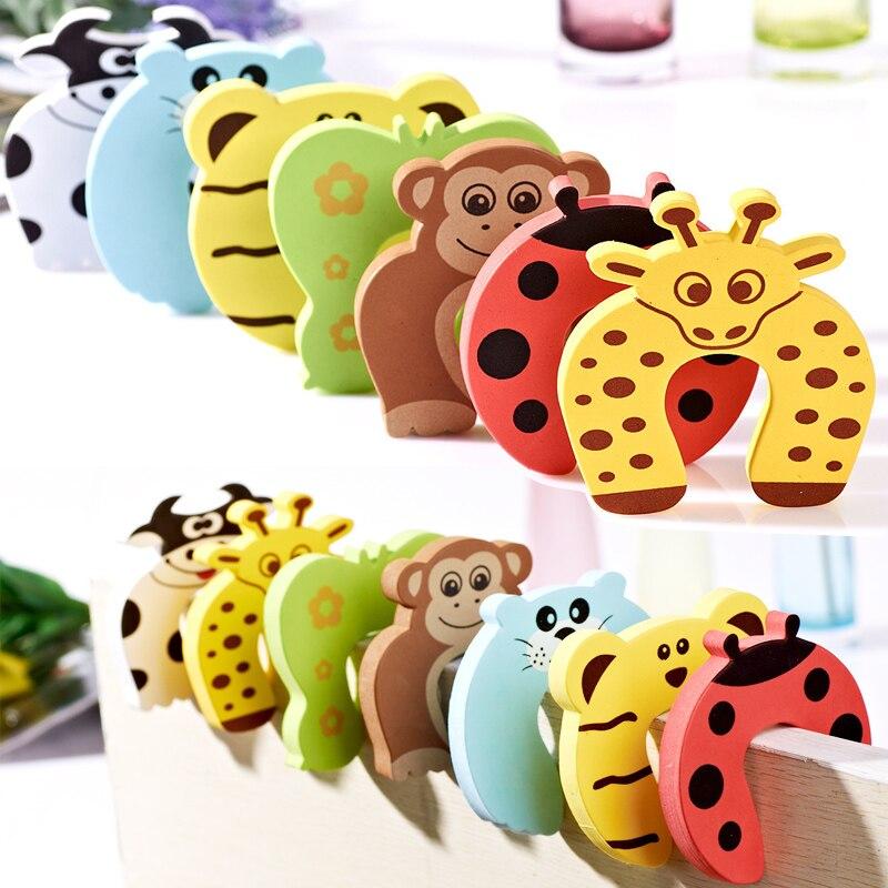 10pcs/Set Children Safety Cartoon Door Clamp Pinch Hand Security Card Cute Animal Baby Door Stopper Clip Security