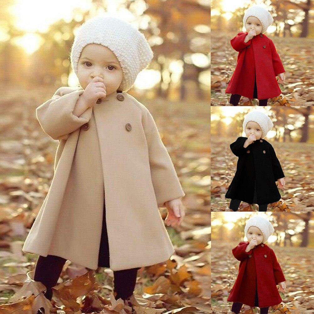 Baby Meisje Winter Kleding Kids Nieuwe Mode Jassen Winter Koreaanse Baby Wollen Jas Meisjes 2018 Rood/zwart/beige Elegante Jaket Voor Meisje Fijn Vakmanschap
