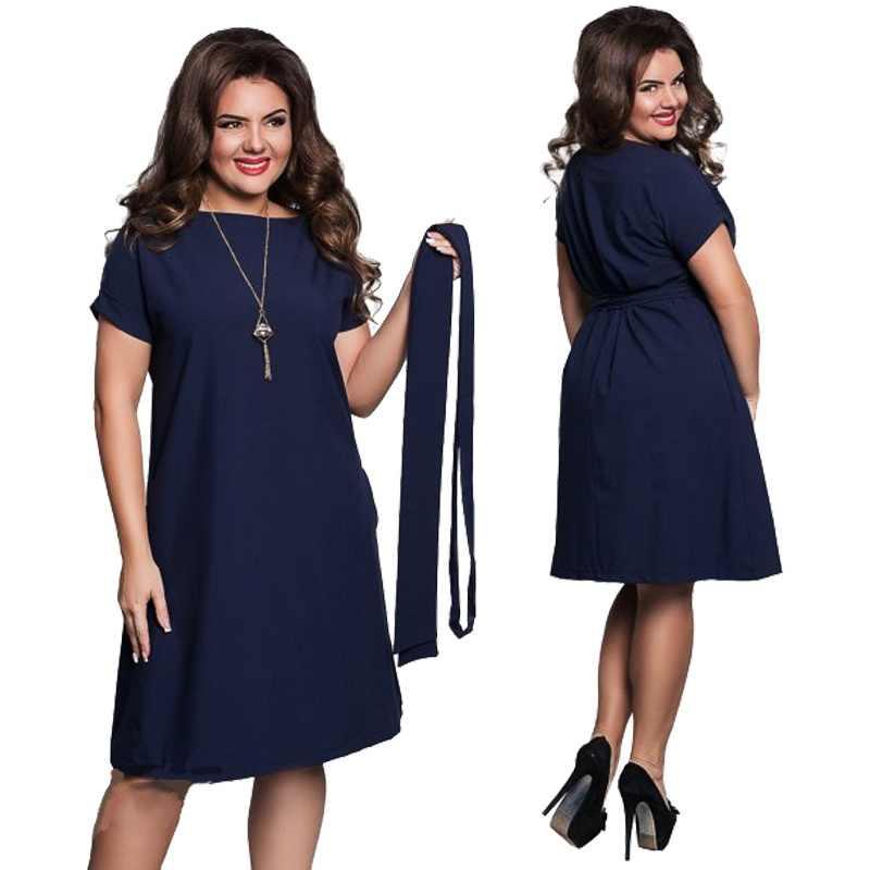 369070ef9bf 2019 Модные Элегантные повседневные женские синие платья большого размера  плюс размер женское платье летние ремни с