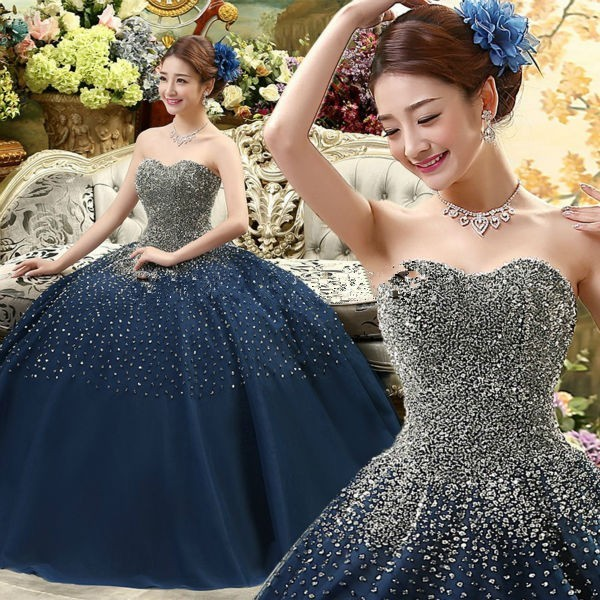 Royal Blue Quinceanera Dresses Ball Gowns Sequined Beading Corset ... c809e85f7664