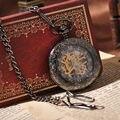 Стимпанк золотой движение набором античная аналоговый мода часы механическая рука ветер карманные часы мужчины скелета старинные часы
