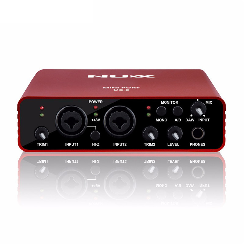 Hot UC-2 Mini Port USB XLR 6.35mm Input Output Audio Interface for Mic MIDI Instrument Recording Playback with Power Adapter Red nux uc 2 mini port usb audio interface