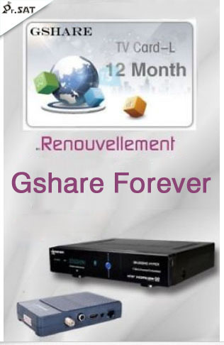 Original Gshare forever recharge code card number abonnement 12 mois for  starsat geant tiger startrack pinacle receiver