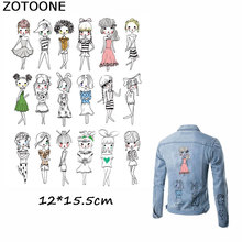 ZOTOONE Lovely Girl Sister Iron on Patches for Clothing T-shirt Stickers Heat Transfer A-level Washable Heat Press Appliqued E clothing to iron on patches personality wolf patches a level washable heat transfer stickers 25 19cm appliqued