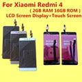 De alta qualidade para xiaomi redmi 4 2 gb ram 16 gb rom screen display lcd + substituição da tela de toque acessórios para dar de silício caso