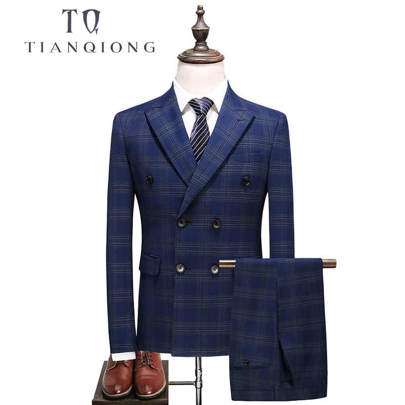 TIAN QIONG Mens Double Breasted Suit 2018 Slim Fit Blue Plaid Suit Men 5XL Plus Size Luxury Wedding Suits Business Formal Wear