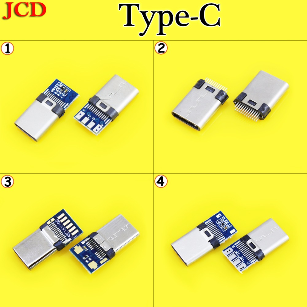 JCD For Android DIY OTG USB-3.1 Welding Male Jack Plug USB 3.1 Type C Connector With PCB Board Plugs Data Line Terminals Usb 3.1