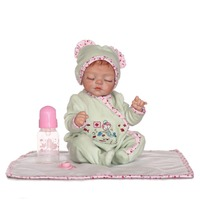 16 Inch 40 Cm Silicone Baby Reborn Dolls Lovely Green Conjoined Garment Sleeping Doll Christmas Gift