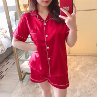 Pajamas Women pajama Set Women Short Sleeve Sleepwear Womens Pajamas Button Down Nightwear Summer Soft Pj Lounge Sets M XXL