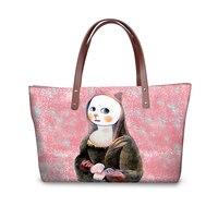 Borsa A Tracolla FORUDESIGNS Mona Lisa Cat Stampa Donne di Marca Famosa Femminile Singolo Shopping Bags Grande Capacità grande sac femme