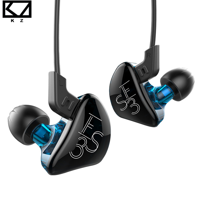 KZ ES3 Balanced Armature With Dynamic BA+DD In-ear Earphone Hybrid Driver Noise Cancelling Sports Headset With Mic MMCX Cable kz zs5 quad dynamic quad balanced armature octa hybrid driver in ear earphone earbud metallic blue and gray with microphone