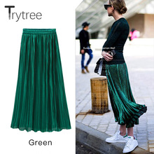 Trytree Silver Gold Pleated Skirt Womens Vintage High Waist Skirt 2018 Summer Long Skirts New Fashion Metallic Skirt Female