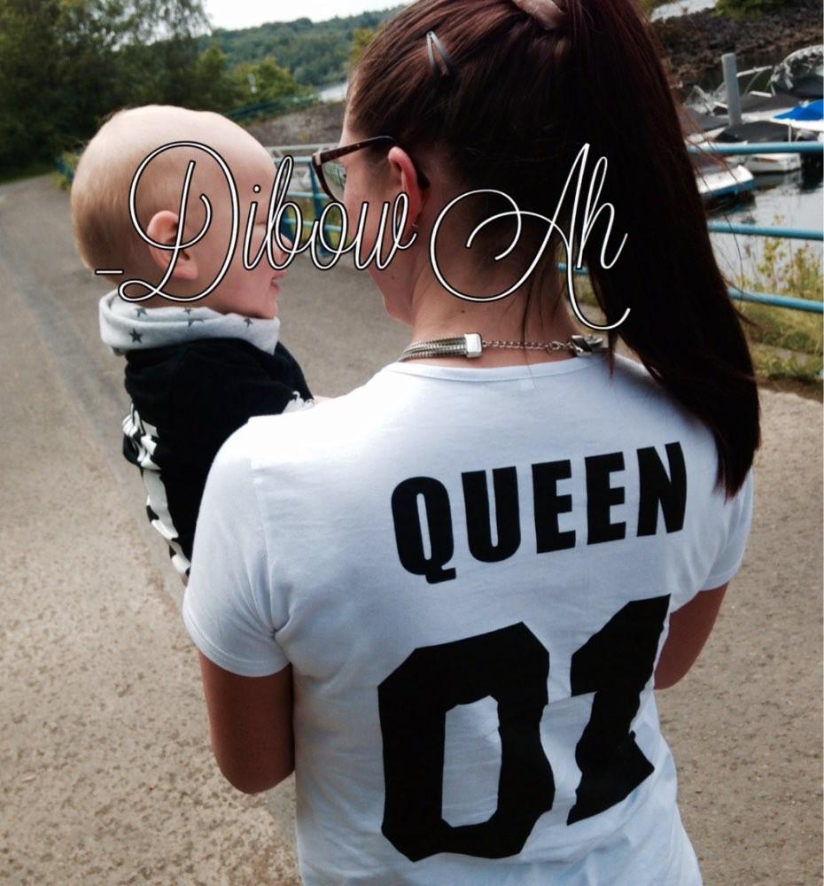 BKLD New 100% Cotton Matching T shirt King 07 Queen 07 Prince Princess Letter Print Shirts,Casual Men/Women Lovers Tops Newborn 16