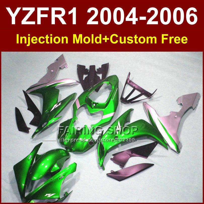 Custom Injection body fairings kit for 2004 2005 2006 YAMAHA YZFR1 04 05 06 YZF R1 YZF1000 green silver motorcycle fairing kits freeshipping motorcycle rear fender guard fairing abs for yamaha yzf r1 2004 2005 2006 yzfr1 04 05 06 silver