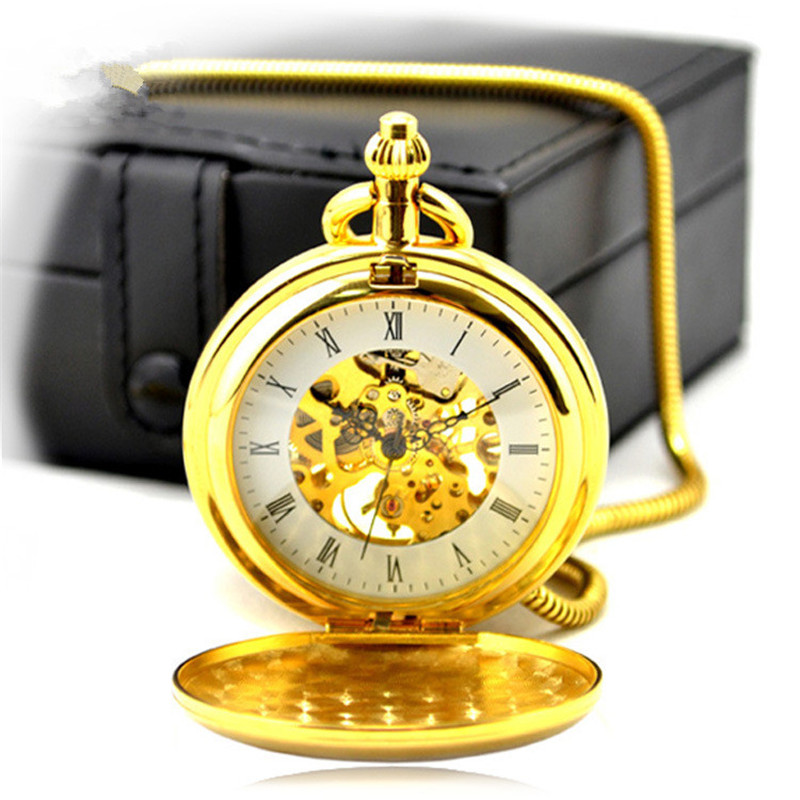 Luxury Skeleton Gold Hollow Automatic Mechanical Pocket Watch Men Vintage Hand Wind Clock Snake Chain High-Quality Leather box 2017 new arrival luxury gold transparent skeleton hand wind mechanical pocket watch with chain for men women birthday gift