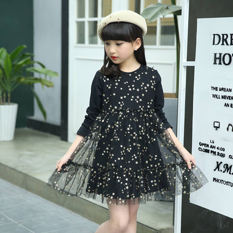 Vestidos Girls dress Cotton mini dresses Roupas infantis menina 2017 Spring Autumn Dress girl Long sleeve Glitter print clothes bruno sohnle часы bruno sohnle 17 33136 252mb коллекция bravura