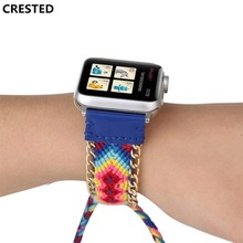 CRESTED Woven nylon Rope strap For Apple watch band 42mm/38mm iwatch series 3/2/1 Handmade wrist bracelet watchband belt correa