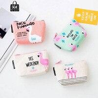 1 pcs Rose Diary New cute flamingos canvas coin purses zipper zero wallet child girl boy women purse,lady coin bag key packet