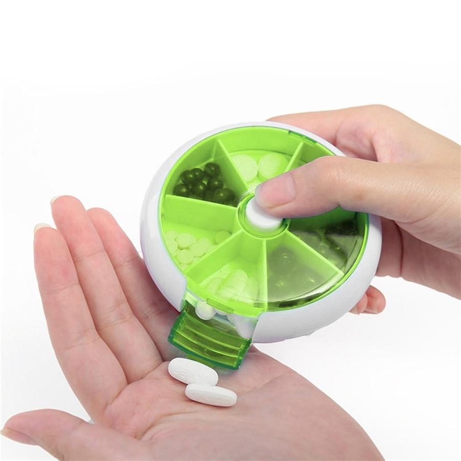 Еженедельно автоматический поворотный круглый Форма медицины Pill Box путешествия медицина контейнер держатель планшета чехол для хранения 2 ...