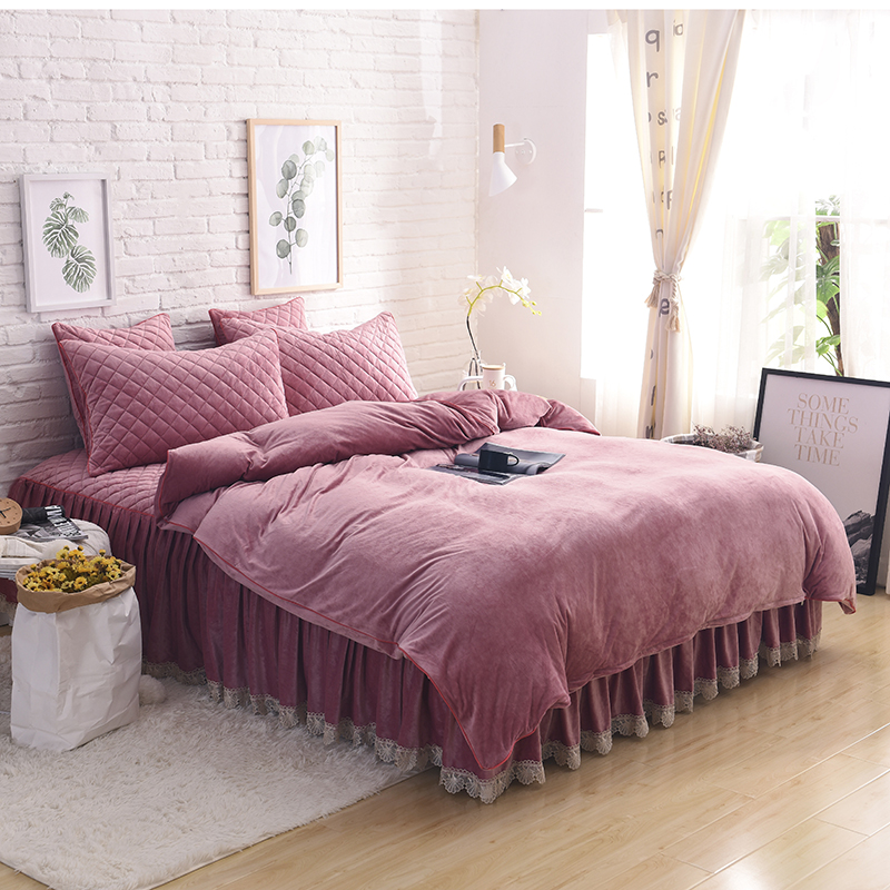 Bean Sand Color Comfortable Soft Fleece Fabric Crystal Velvet Winter Thick Bedding Set Duvet Cover Bed Skirt Pillowcases 4/6pcs