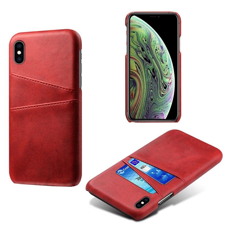 Роскошный держатель для карт чехол для iphone 5, 5S, 6, 6 S, 7, 8 Plus, 5se, кожаный чехол-кошелек для iphone X, XR, XS, Max, 11 Pro, Max, чехол для телефона - Цвет: Red