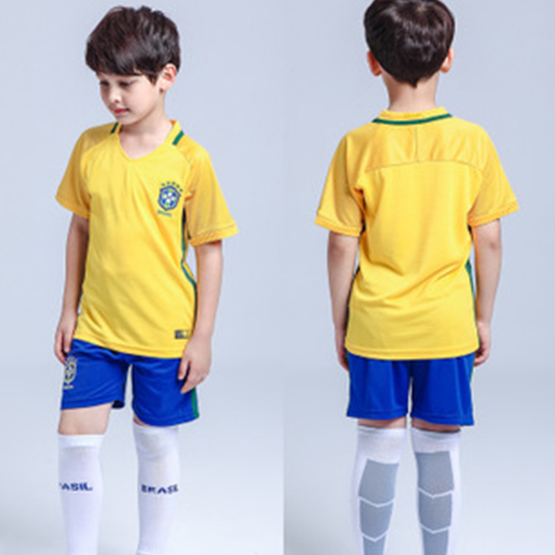 Boys Clothes Set Sport suits 2018 Brazil Soccer Jersey Baby T-Shirts + Shorts Tracksuits Summer Cotton Football Clothing Set