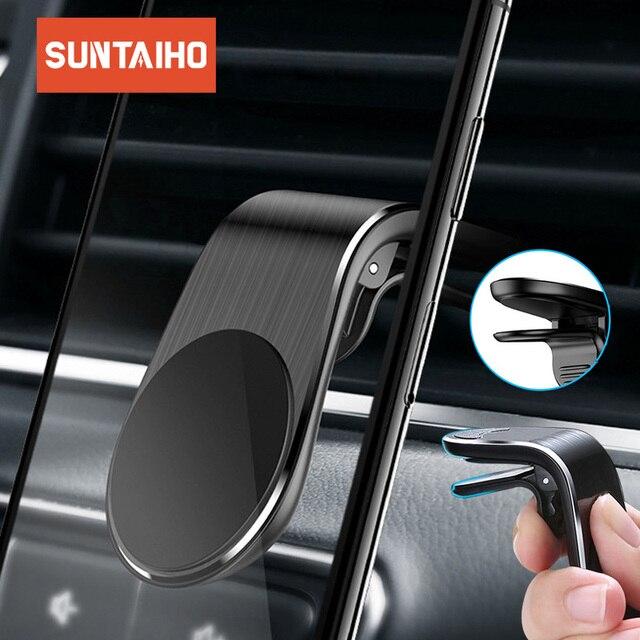 Suntaiho support de téléphone de voiture magnétique L forme évent support de montage pour iPhone X 7 8 Samsung S9 voiture aimant GPS support de téléphone portable