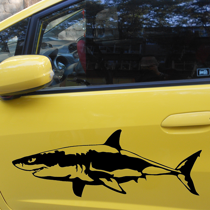 58cm x 21.65cm 2 x Great White Shark (one For Each Side)Vinyl Decal Car Window Wall Novelty Sticker Fish Jaws robo fish shark style electronic fish toy blue white 2 x lr44
