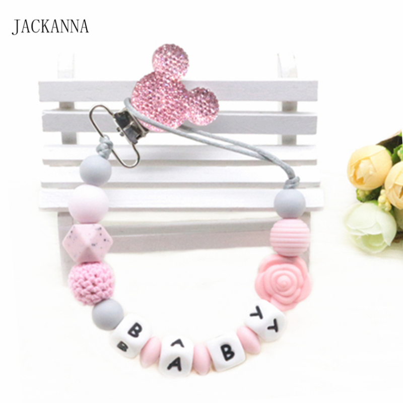 Customized Name Baby Pacifier Clips Mouse Head Pacifier Holder Chain Silicone Beads Baby Teething Chain Nursery Toy Shower Gifts(China)