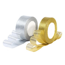 High Quality 25 Yards Gold Silver Glitter Organza Ribbons Christmas Wedding Decorative Ribbon Tapes Gift Packaging Ribbons