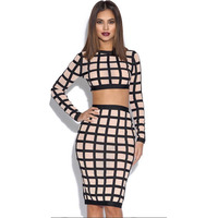 2016 Summer New Sexy European And American Fashion Nightclub Plaid Tight Bandage Dress Long Sleeve Crop