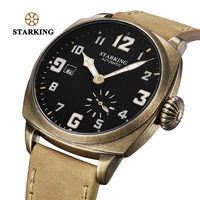 STARKING Outdoor Sport Watch Retro Watch Men Bronze Plating Stainless Steel Sapphire Crystal Auto Date Mechanical Wristwatches