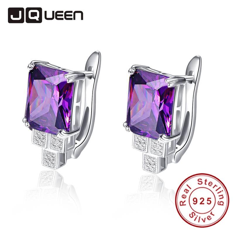 JQUEEN Elegant 8.15g Purple Piercing Earrings Clip Design Women Amethyst Stone Ear Studs Silver 925 Bridal Wedding Party Jewelry